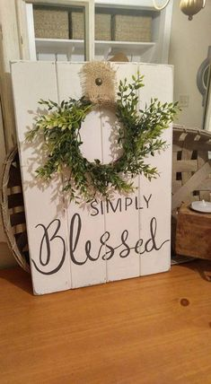 Inspired by Fixer Upper this rustic Simply Blessed sign makes the most unique gift for anyone who loves farmhouse style decorating. Makes a perect housewarming gift. Works perfectly with rustic countr Country Farmhouse Decor, Farmhouse Style Decorating, Rustic Decor, Coastal Farmhouse, Modern Farmhouse, Cottage Farmhouse, Coastal Cottage, Farmhouse Ideas, Modern Country
