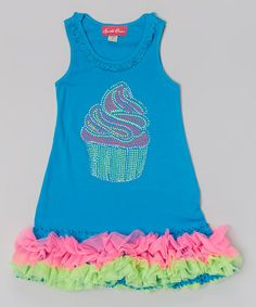 Look at this #zulilyfind! Blue & Hot Pink Cupcake Ruffle Dress - Infant, Toddler & Girls by The Princess and the Prince #zulilyfinds
