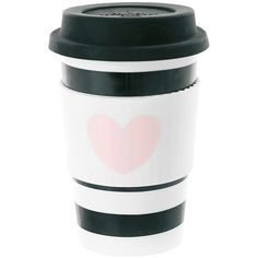 Miss Étoile Ceramic Travel Mug - Rose Heart with Black Stripes (1.415 RUB) ❤ liked on Polyvore featuring home, kitchen & dining, drinkware, fillers, kitchen, accessories, other, hot beverage cups, pink travel mug and ceramic cup
