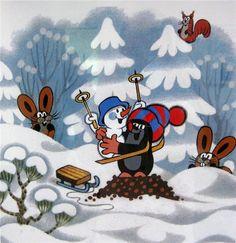 (2015-02) Muldvarpen i sneen med harerne, egernet og snemanden