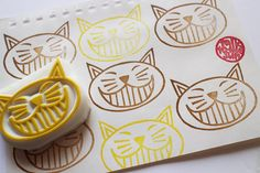 cat rubber stamp. cat face stamp. hand carved by talktothesun