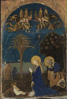 PAOLO UCCELLO - Adorazione del Bambino con i santi Gerolamo, Maria Maddalena e Eustachio - 1436 circa - Karlsruhe, Staatliche Kunsthalle