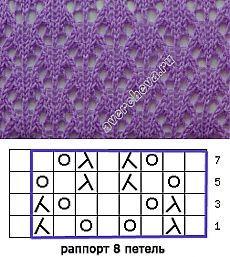 This 8-st x 8-row pattern looks like pretty little fish ~~ узор.