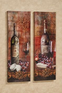 Kitchen Decor Grapes of Toscana Canvas Wall Art Multi Warm Set of Two - Wine Theme Kitchen, Grape Kitchen Decor, Italian Kitchen Decor, Italian Home Decor, Mediterranean Home Decor, European Home Decor, Kitchen Decor Themes, Vintage Kitchen Decor, Kitchen Ideas