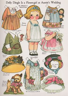 Dolly Dingle Paperdolls - I LOVED her and her adorable dresses.even her little paperdoll DOLLS had clothes and accessories! They don't make paperdolls the way they used to! History Of Paper, Etiquette Vintage, Paper Dolls Printable, Printable Vintage, Free Printable, Vintage Paper Dolls, Vintage Paper Crafts, Antique Dolls, Paper Toys