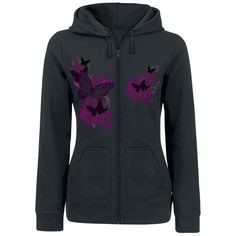 Butterflies rock! If you like butterflies, you should check out the black Butterfly Sky girls hooded zip of EMP Full Volume. On the black hooded zip is a print of flowers and butterflies - super eye-catcher. Put it on and rock out!