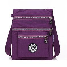 TianHengYi Small Water Resistant Nylon Crossbody Shoulder Bag Multilayers Purple * You can get additional details at the image link.