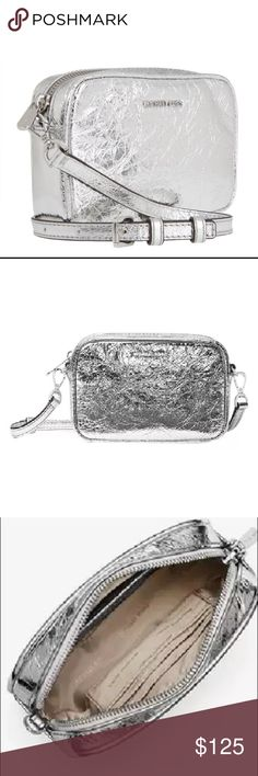 b8dcff29ac14 NWOT MK Silver Metallic Crinkled Leather Crossbody Small crossbody in crinkled  silver leather! Beautiful for the holidays. Tissue is still on the strap  but ...