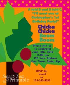 Customized Printable Chicka Chicka Boom Boom Invitation for Birthday/Baby Shower