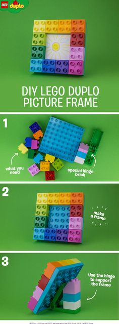 All you need to build this cute DIY picture frame is a small baseplate, some colorful 2x2 LEGO DUPLO bricks and a special hinge brick (or you could use a triangular brick). Help your child to build a frame on the baseplate and place the hinge brick on the back of the plate to help the frame stand up. Then you're ready to display your child's favorite drawing or photo in the frame. Tip: click to find where to buy the special hinge brick.