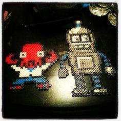 Zoidberg and Bender Futurama perler beads by tonyeson