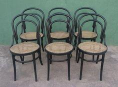 Antigo Conjunto 6 Cadeiras Austriaca Thonet Com Palhinha