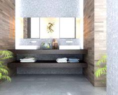 Bathroom vanity- gray mosaic and faux wood