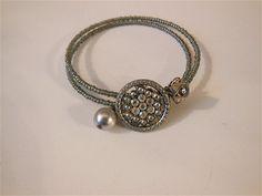 antique button braceletaurora borealis by AgoVintage on Etsy, $22.00