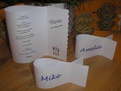 Menükarte oder Tischkarte in fischform, Papier + Druck INDIVIDUELL