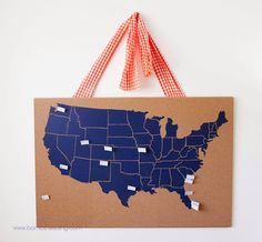 USA Cork Board Map - document where you have lived or where you have traveled!