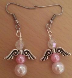 Pink Pearl Angel Earrings $10