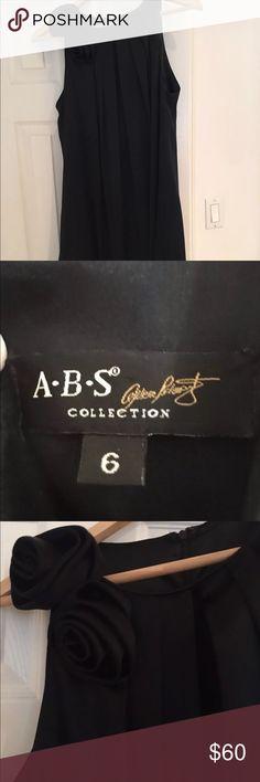 ABS Collection Dress - Black Satin Black satin dress with flower by the neckline. ABS Allen Schwartz Dresses Mini