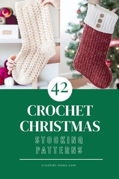 42 crochet Christmas stocking patterns that will have your home and fireplace ready for the festive season. Free & paid patterns, beginner and advanced Christmas stocking patterns. Crochet Christmas Stocking Pattern, Crochet Stocking, Holiday Crochet, Crochet Christmas Stockings, Crochet Ornaments, Crochet Snowflakes, Classic Christmas Decorations, Unique Crochet, Christen