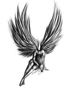 Angel Tattoos of fallen angels - Art - zeichnung - Tattoo Designs For Women Fallen Angel Art, Fallen Angel Tattoo, Tattoo Drawings, Body Art Tattoos, Sleeve Tattoos, Fly Tattoos, Fishing Tattoos, Tattoos Skull, Heart Tattoos