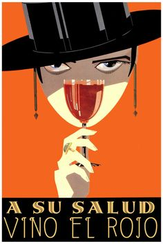 2337.A su salud.Red wine sexy spanish bullfighter POSTER.Room Home Interior art #Vintage