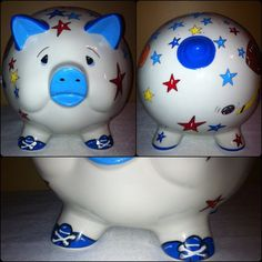 All Star Sports Theme Large Hand Painted Personalized Piggy Bank by RosePaisleyPig on Etsy
