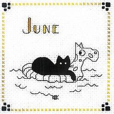 "Finished Completed Cross Stitch Kats by Kelly""June"" 