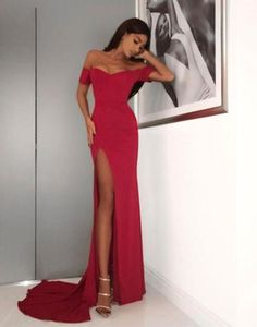 red off shoulder prom dress, red mermaid evening dress high slit prom gown cocktail dress,HS042 #fashion#promdress#eveningdress#promgowns#cocktaildress