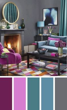 The living room color schemes to give the impression of more colorful living. Find pretty living room color scheme ideas that speak your personality. Living Room Colour Design, Modern Living Room Colors, Colourful Living Room, Living Room Color Schemes, Living Room Designs, Grey Living Room With Color, Bedroom Modern, Living Room Decor Purple, Colorful Rooms