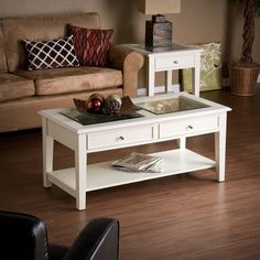 Details About Wood Cocktail Table Shadow Box Display Coffee Glass Top 2 Drawer Shelf Off White