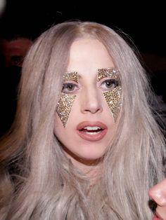 Lady Gaga with gold jewel makeup