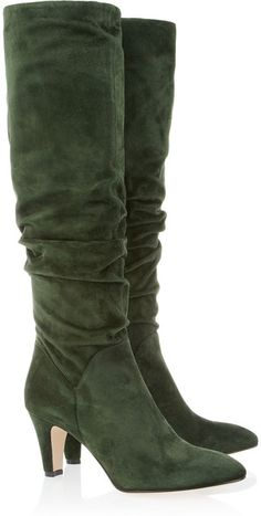 Berton Ruched Suede Knee Boots