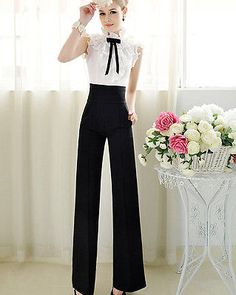 Hot Women Black High Waist Flare Wide Leg Long vintage Pants Loose Trousers in Clothing, Shoes & Accessories, Women's Clothing, Pants Black Wide Leg Trousers, Wide Leg Palazzo Pants, Palazzo Trousers, Women's Trousers, Women's Pants, Dress Pants, Vintage Pants, Estilo Fashion, Fashion Pants