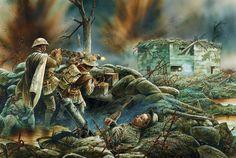 Británicos atacando un fortín germano en Passchendaele, cortesía de Peter Dennis. Más en www.elgrancapitan.org