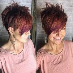 Short Sassy Haircuts for Chic View - Funky short hair - Pixie Haircut For Thick Hair, Choppy Hair, Cute Hairstyles For Short Hair, Short Hair Cuts For Women, Short Hair Styles, Edgy Short Hair, Teenage Hairstyles, Edgy Hair, Curly Hair