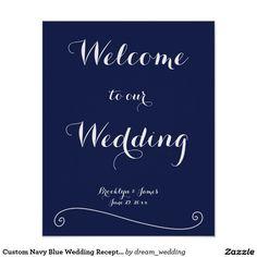 Custom Navy Blue Wedding Reception Sign Print