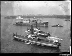 An undated photo of Sydney Harbour Vehicular Ferries 'Kalang' and 'Koondooloo' with HMAS Canberra and HMAS Anzac in the background. Sydney Ferries, First Fleet, Bronte Beach, Sydney City, Newcastle Nsw, Old Trains, Maritime Museum, The Old Days, Historical Pictures