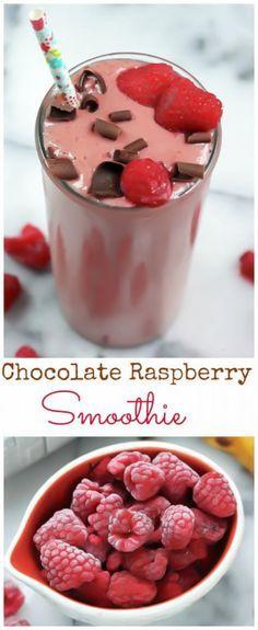 4 Ingredient Chocolate Raspberry Smoothie (Skinny, Vegan, Gluten Free)