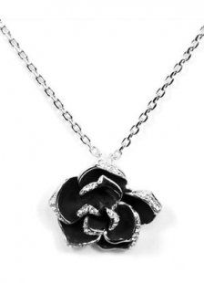 Cool Black Rose Silver Alloy Zicron Jewel Necklace For Women