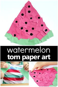 "This torn paper watermelon craft is great for little hands as it will strengthen those fine motor muscles. We think you're going to love the cute fingerprint ""seeds"" too! Add it to your preschool watermelon theme or summer crafts idea list. #preschool #kidscrafts #summer #watermelon #finemotor"