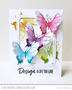 Handmade card from Donna Mikasa featuring Beautiful Butterflies stamp set and Die-namics #mftstamps