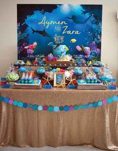 "Full Dessert Table from a Shark & Mermaid ""Under the Sea"" Joint Birthday Party via Kara's Party Ideas! KarasPartyIdeas.com (27)"