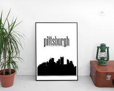 Pittsburgh Silhouette, skyline, skyline art, pittsburgh skyline, Wall art prints, birthday present, Artwork Prints, Home Decor Poster #giftidea #birthdaygiftideas #housewarminggift