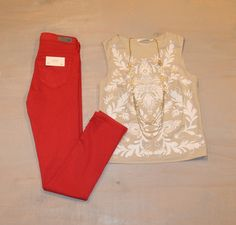 Monday Movie Matinee  Embroidered Top by Bailey 44 $187 'Prima' Mid-Rise Skinny Jean by AG $178 Gold Tiered Shell Necklace $42