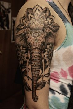 Awesome Elephant Sleeve Tattoo.
