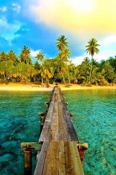 Island Bridge, Tahiti photo via besttravelphotos