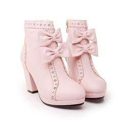 Cute bow heels waterproof boots 7059552