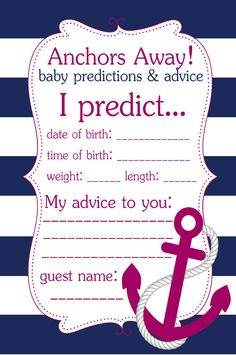 Pink and Navy Blue Anchor Baby Predictions & Advice Card