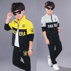 Boys Long Sleeve+pant Sports Suit for Kids Sets In Letter Two Piece Suits Ages Yellow Grey Color Sport Outfits, Boy Outfits, Two Piece Clothing Sets, Kids Suits, Sport Pants, Hoodies, Sweatshirts, Outfit Sets, Boys
