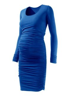 Gorgeous ruched dress in cobalt blue from Isabella Oliver. Chic and elegant!